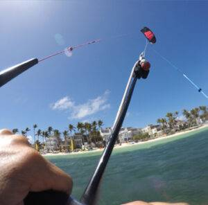 Learning how to body drag during a kitesurfing lesson