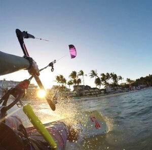 Kitesurfer enjoying the wind before sunset