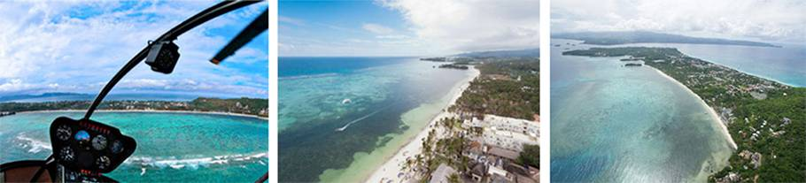 Aerial view of Bulabog Beach from a helicopter